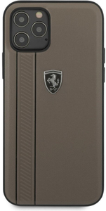 Чехол накладка Ferrari для Apple iPhone 12/12 Pro коричневый