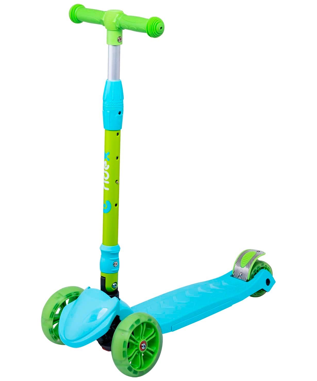 Самокат 3-колесный Bunny, 135/90 мм, голубой/зеленый