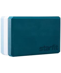 Блок для йоги STARFIT YB-201 EVA, 22,8x15,2x10 см, 350 гр, изумрудная радуга