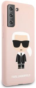 Чехол Lagerfeld для Galaxy S21 Liquid silicone Iconic Karl Hard Pink