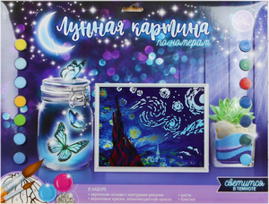 Лунная роспись по номерам без подрамника «Звёздная ночь», 30 х 40 см