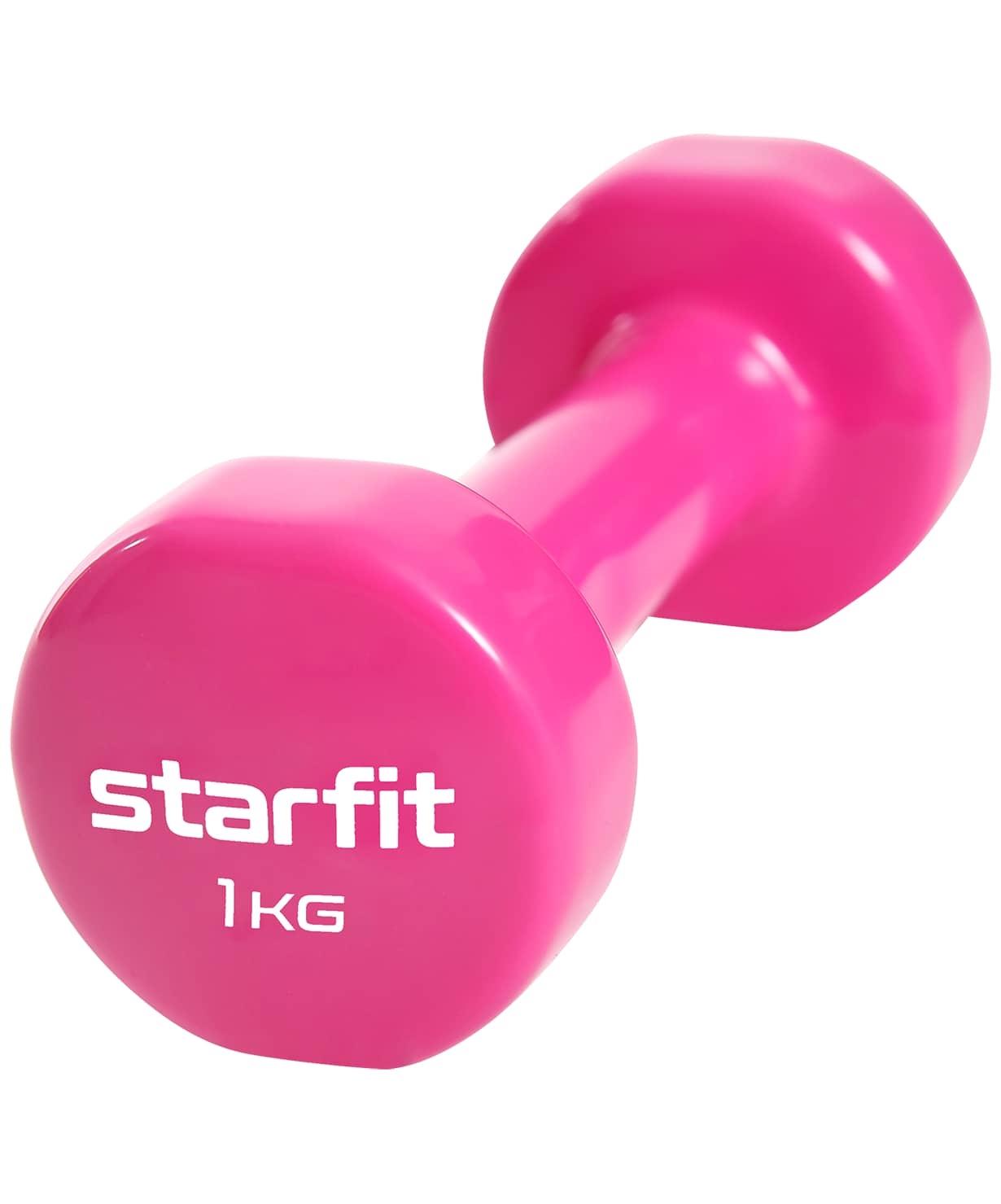 Гантель виниловая Core DB-101, 1 кг, розовый