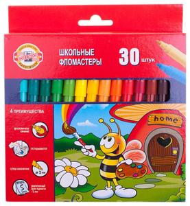 """Фломастеры 30 цветов Koh-I-Noor """"Пчелка"""", трехгранные, европодвес"""