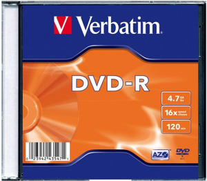 Диск DVD-R Verbatim 4.7Gb 16x Slim case (100шт) (43547)