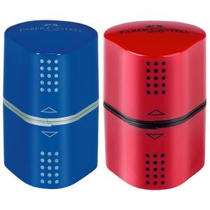 """Точилка пластиковая Faber-Castell """"Trio Grip 2001"""", 3 отверстия, 2 контейнера, красная/синяя"""