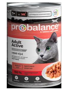 """Консервированный корм для кошек Probalance """"ACTIVE"""", 415г. / 12 шт."""