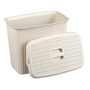 Контейнер для стирального порошка IDEA «Вязание», 6 л, цвет белый ротанг