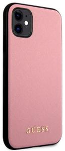 Чехол Guess для iPhone 11 Silicone Saffiano Hard Pink