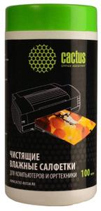 Чистящие салфетки для компьютеров и оргтехники (100шт) Cactus <CS-T1002>
