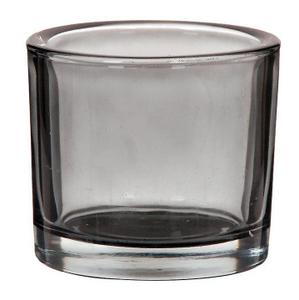 "Подсвечник стекло на 1 свечу ""Стакан"" прозрачный графит 8х9,3х9,3 см"