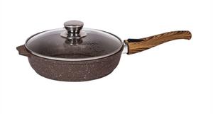 Сковорода 28см АП Гранит brown с несъемной ручкой и стекл. крышкой арт. С28806