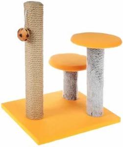 "Когтеточка ""Столбик"" с двумя грибами, джут 43 х 36 х 31 см Оранжевая"