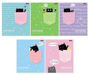 Тетрадь 12 листов в клетку «Котик в кармашке», обложка мелованный картон