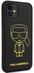 Чехол Lagerfeld для iPhone 11 Liquid silicone Ikonik outlines Hard Black/Yellow
