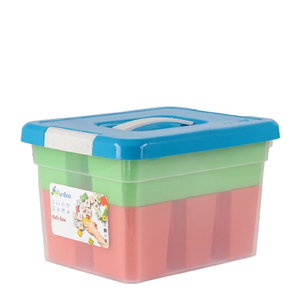 Контейнер для хранения с крышкой FunBox Kid's Box, 6 л, 25×20×16 см, 6 вставок, лоток, цвет МИКС