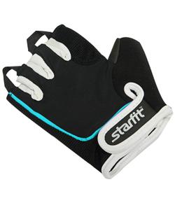 Перчатки для фитнеса STARFIT SU-111, черный/белый/голубой (M)