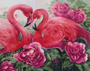 "Картина по номерам на холсте 40х50 ""Розовые фламинго"""