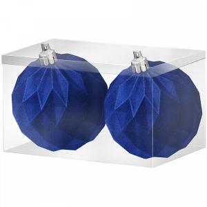 """Набор шаров из полистирола """"Шары орнамент синий бархат"""" 2шт, 6см"""