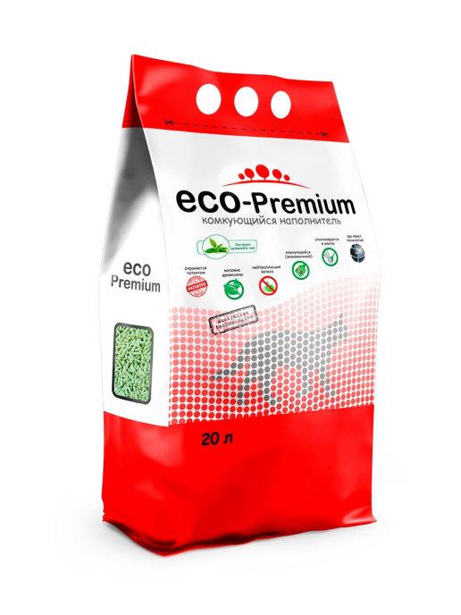 """Наполнитель комкующийся гигиенический """"Eco - Premium"""" Зелёный чай 20 л."""