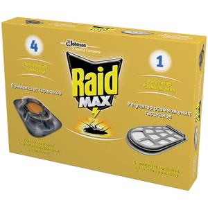 Ловушка от тараканов Raid, регулятор размножения 1шт. + приманка 4шт.