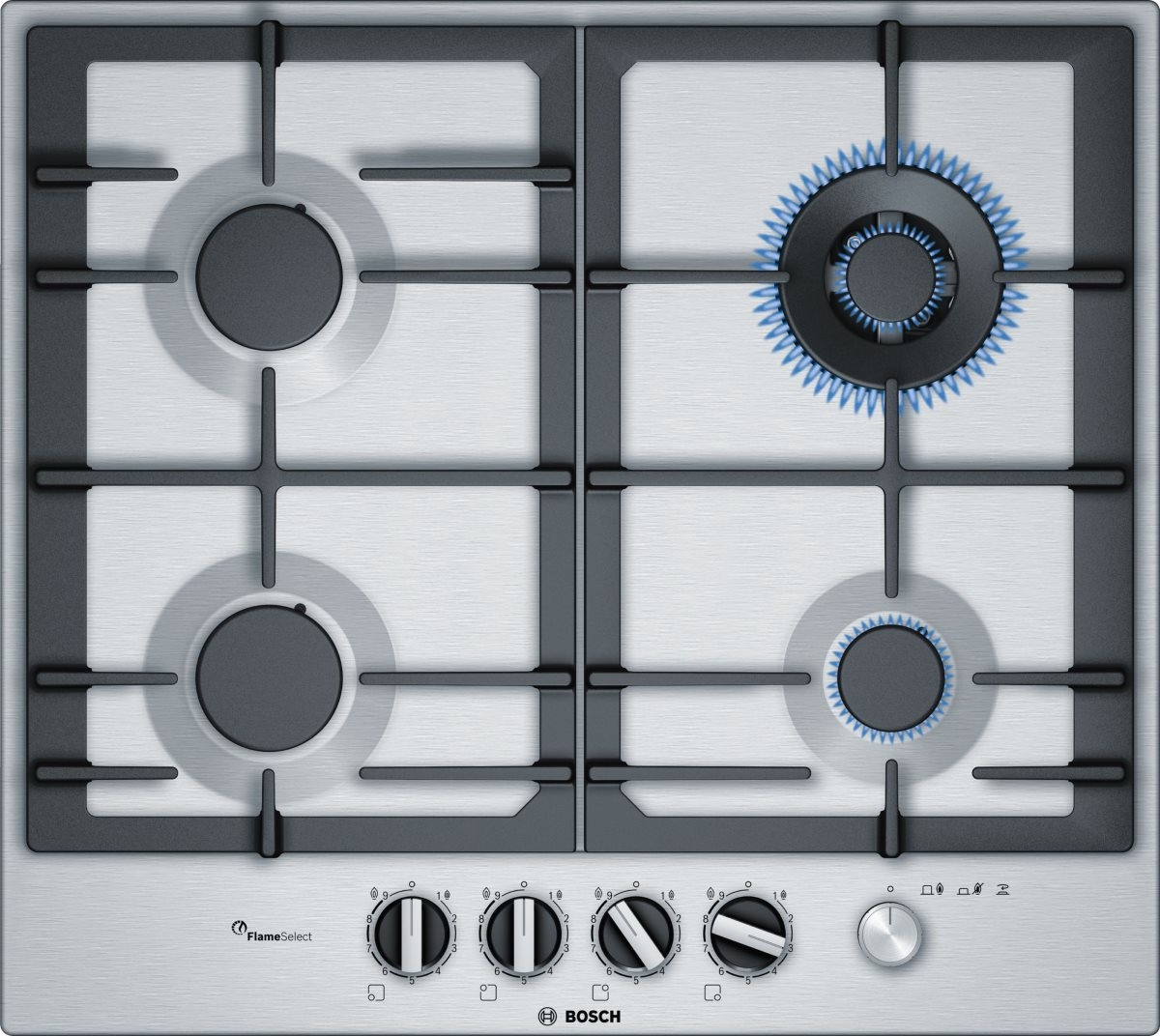 Газовая варочная панель Bosch PCH6A5M95R серебристый