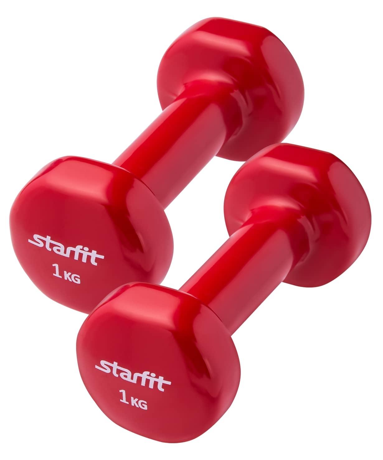 Гантель виниловая, комплект STARFIT DB-101 1 кг, красный, 2 шт