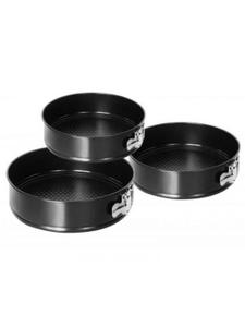 Набор разъемных форм для выпечки GREENBERG, в комплекте 3шт, круглые (24см, 26см, 28см)Черные