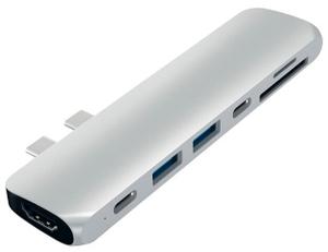 USB-хаб Satechi Aluminum Pro Hub для Macbook Pro (USB-C). Порты: HDMI, Thunderbolt 3, USB Type-C, SD, microSD, 2 x USB 3.0. Цвет серебряный.
