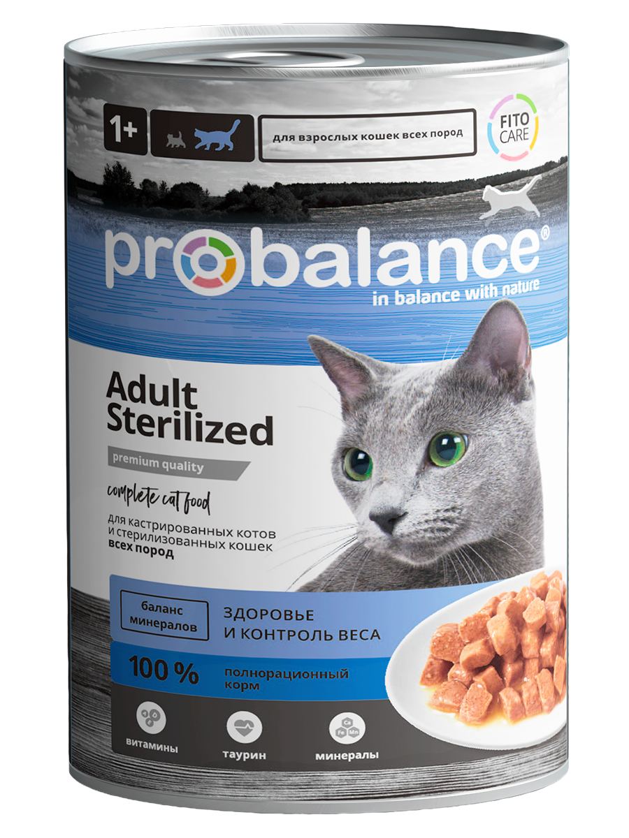 Консервированный корм Probalance Sterilized  для Стерилизованных кошек и Кастрированных котов 415г, 12шт.