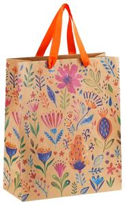 """Пакет подарочный 26*32*12см MESHU """"Bright flowers"""", крафт"""