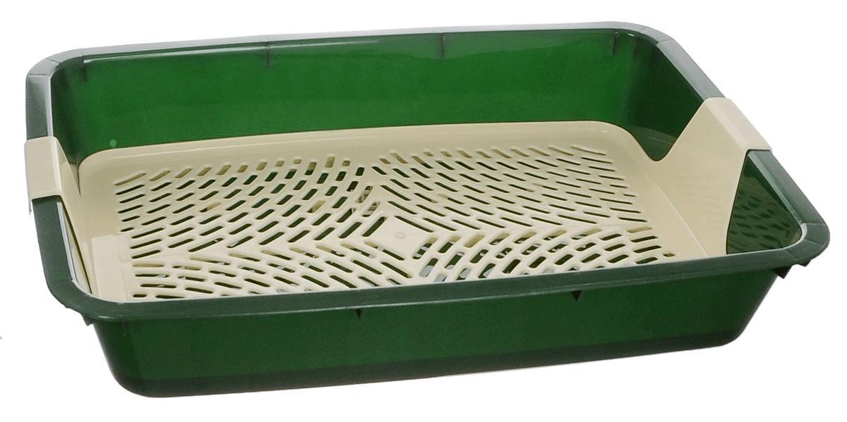"""Туалет-лоток для кошек с сеткой """"Кетти"""" 42*31*8 см Зелёный"""