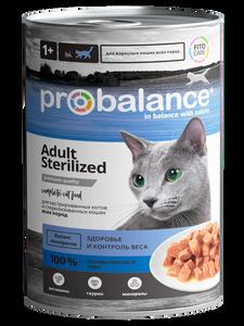 """Консервированный корм для кошек ProBalance """"Sterilized""""  для стерилизованных кошек и кастрированных котов 12 шт. х 415 г"""