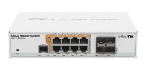 Коммутатор MikroTik <CRS112-8P-4S-IN> Cloud Router Switch (8UTP/WAN 1000Mbps + 4SFP)