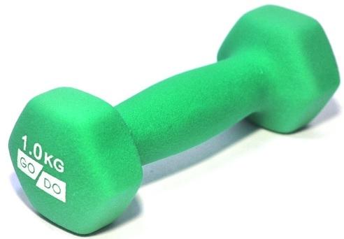 Гантель GO DO в виниловой матовой (неопреновой) оболочке.  Вес 1 кг. (Зеленый)
