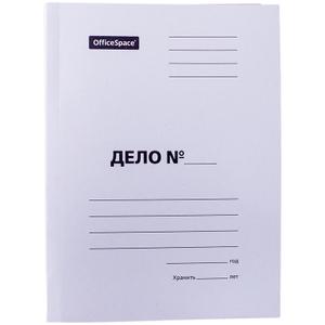"""Скоросшиватель OfficeSpace """"Дело"""", картон немелованный, 280г/м2, белый, пробитый, до 200л."""