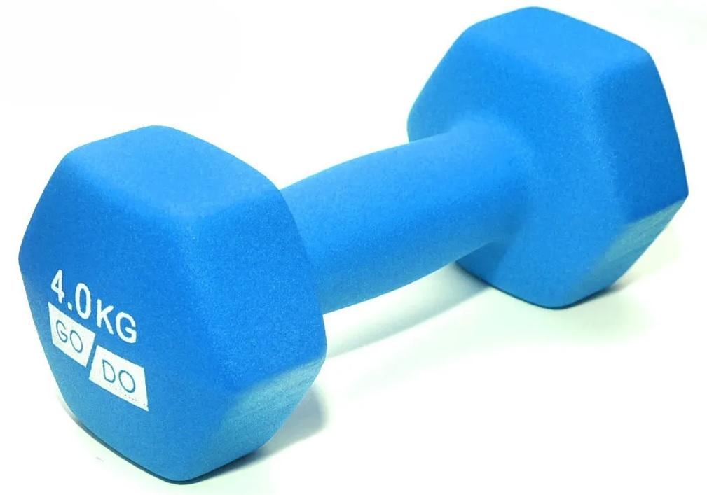 Гантель GO DO в виниловой матовой (неопреновой) оболочке. Вес 4 кг. (Голубой)