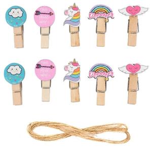 Прищепки декоративные с веревкой для подвеса «Вдохновение» набор 10 шт.