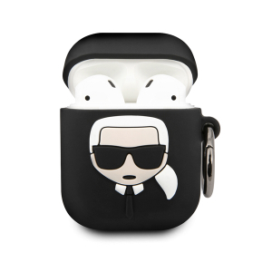 Чехол Lagerfeld для Airpods Silicone case with ring Black