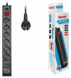 Сетевой фильтр Buro BU-SP5_USB_2A-B 5м (6 розеток) черный (коробка)