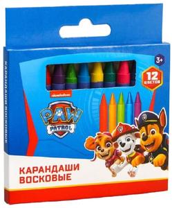 Восковые карандаши Paw Patrol, набор 12 цветов
