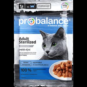 """Влажный корм для кошек ProBalance """"Sterilized"""" для стерилизованных кошек и кастрированных котов 25 шт. х 85 г"""
