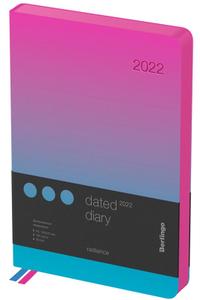 """Ежедневник датированный 2022г., A5, 184л., кожзам, Berlingo """"Radiance"""", синий/розовый градиент"""