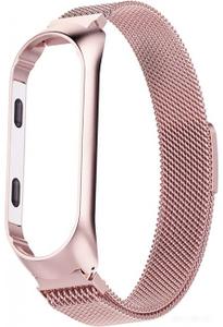 Ремешок для фитнес трекера Xiaomi Mi Band 3/4 плетенный металический розовое золото