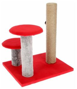 "Когтеточка ""Столбик"" с двумя грибами, джут 43 х 36 х 31 см Красная"