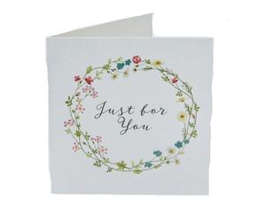 Открытка‒мини Just for you, цветочный веночек, 7 × 7 см