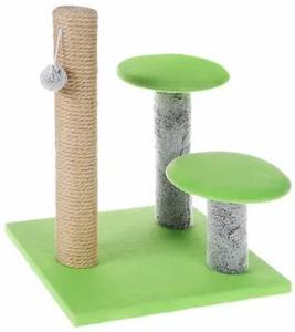 "Когтеточка ""Столбик"" с двумя грибами, джут 43 х 36 х 31 см Зелёная"