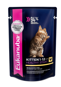 """Корм консервированный Eukanuba """"EUK Cat. Паучи"""", для котят, с курицей, в соусе, 85 г. ( 24 шт. в уп.)"""
