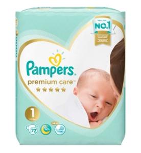Подгузники Premium Care Newborn (2-5 кг) Упаковка 72 PAMPERS