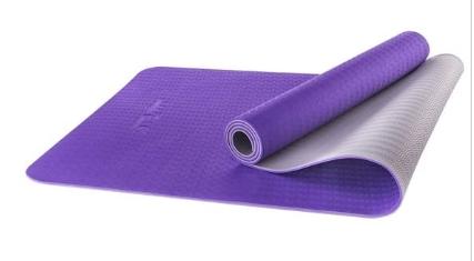 Коврик для йоги STARFIT FM-201 TPE 173x61x0,5 см, фиолетовый/серый 1/12