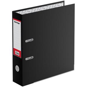 """Папка-регистратор Berlingo """"Hyper"""", 80мм, бумвинил, с карм. на корешке, нижн. метал. кант, черная"""